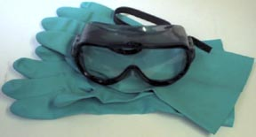 Safety goggles and gloves are the basic safety equipment for working with KOH.
